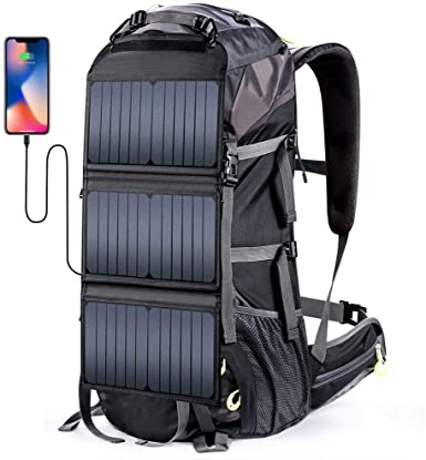 EXTERNAL FRAME HIKING BACKPACK with solar panels