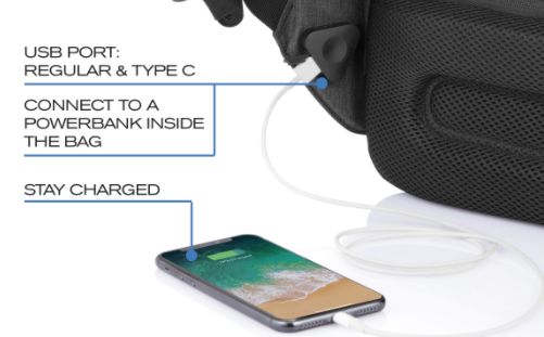 XD DESIGN BOBBY TECH BACKPACK with strap charging port