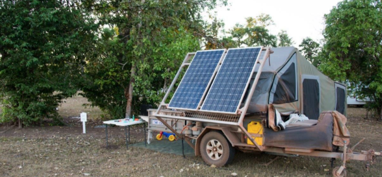 camping trailer with solar panels