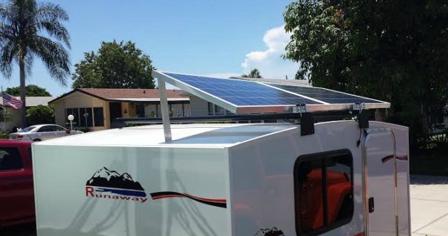 roof type solar panel for camping trailer