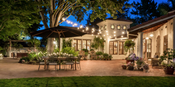 solar string lights at a nice home patio