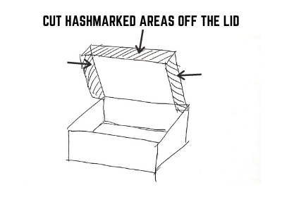 CUT HASHMARKED AREAS OFF THE LID