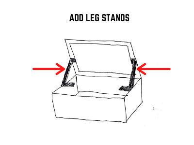 add leg stands to solar shoe box oven lid