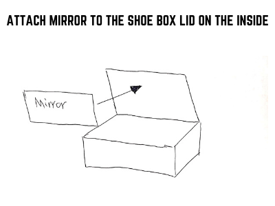 attach mirror to the shoe box lid